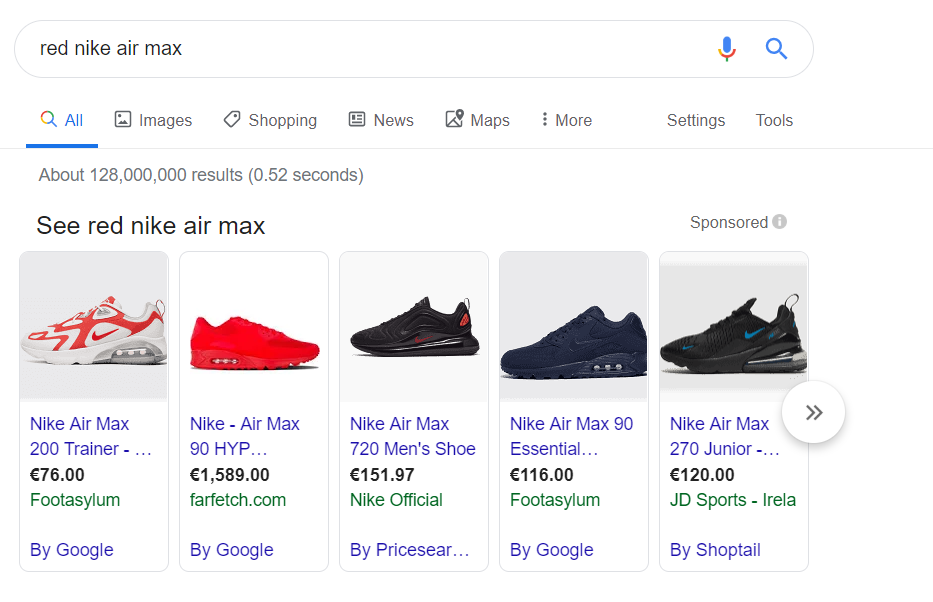 Google Shopping Red Nike Airmax